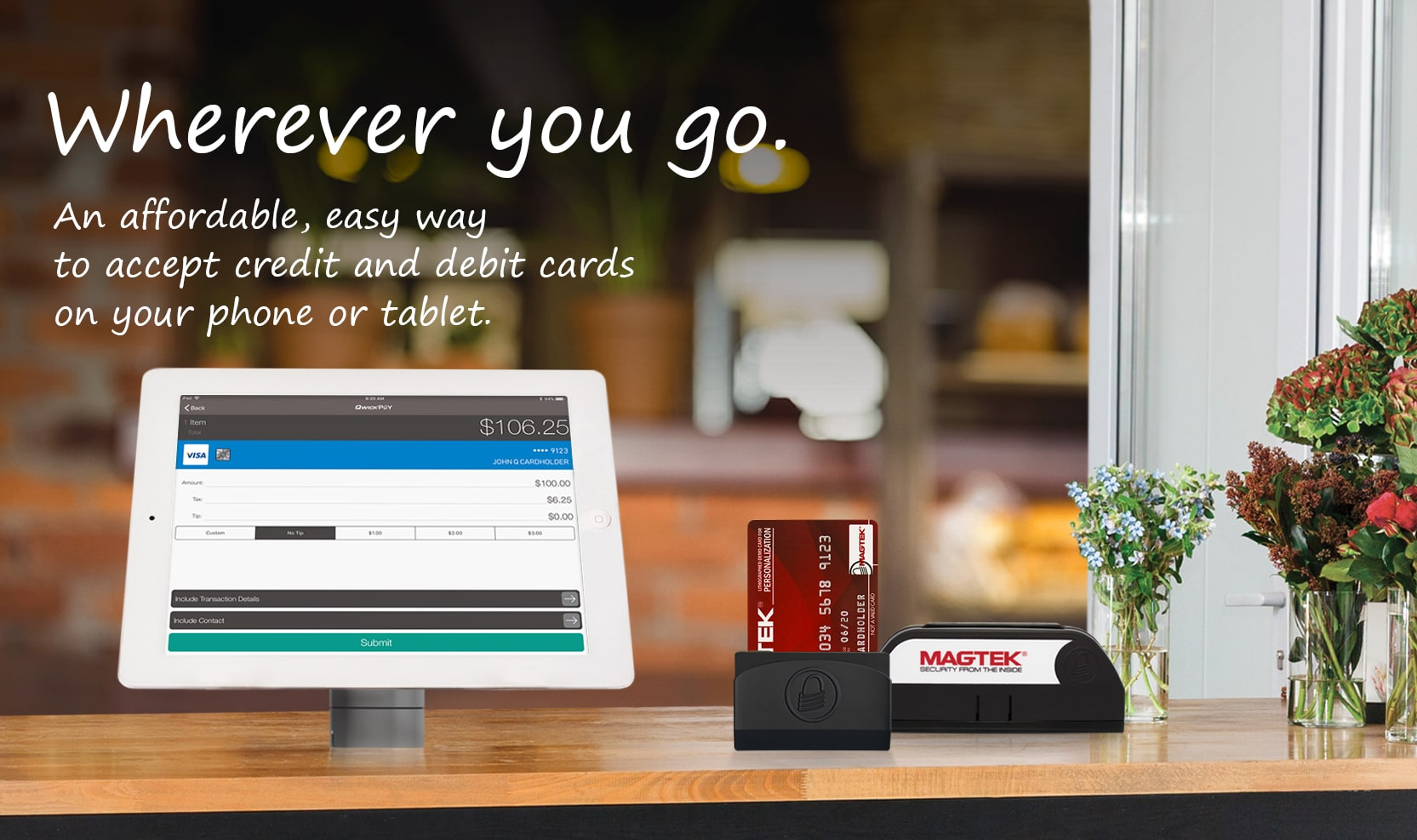 An affordable, easy way to accept credit and debit cards on your phone and tablet