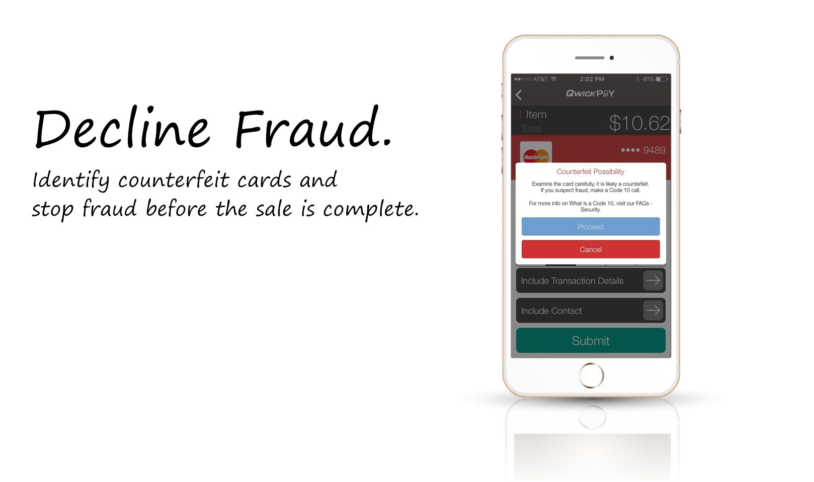 QwickPAY Decline Counterfeit Card Sales